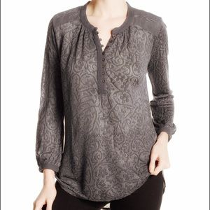Lucky Brand Novelty Mixed Knit Top Gray Large